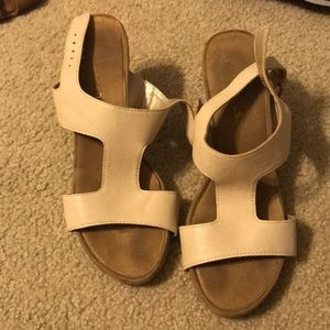 tan open-toe heels
